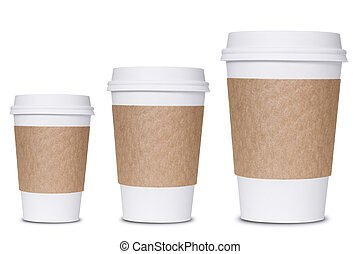 Coffee cup sizes isolated on white background.