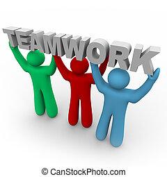 trabajo en equipo, -, tres, gente, Asimiento, palabra