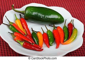 Thai red,green and jalapeno peppers. - Thai red, green hot...