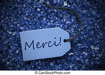 Purple Stones With Label Merci Means Thank You - One Blue...