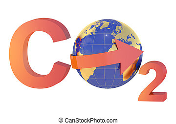 CO2 with globe, pollution concept isolated on white...