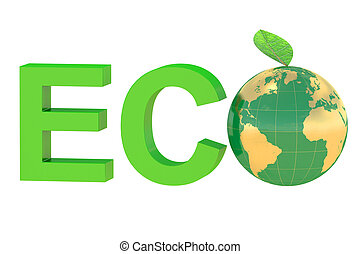Eco concept with globe isolated on white background