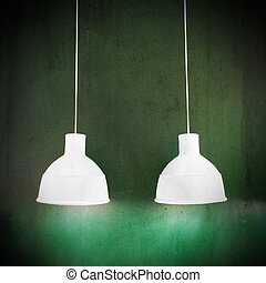 White lamps on green grungy background