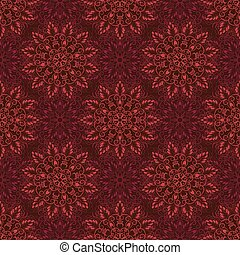 Vector Seamless Mandala Pattern over red