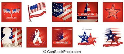 Memorial Day - Set of different banners and backgrounds with...