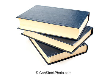 Three old books with yellowed pages isolated on white...