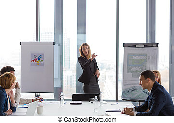 Business woman pointing finger during the meeting in modern office.