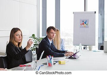 事務, 人們, 辦公室, 現代, 會議, 有
