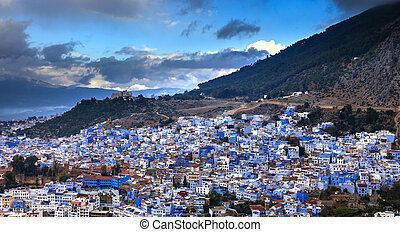 Town Chefchaouen in Morocco - Panorama of blue city...