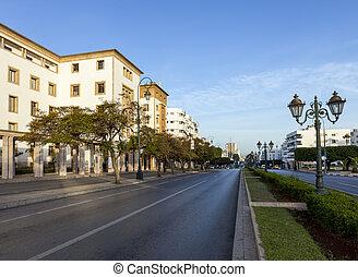 Empty street in Rabat - Empty street in the morning in...