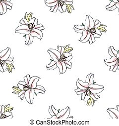 Vector lilly pattern on white background, vector...