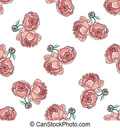 Rosy peony pattern - Rosy peony pattern on white background,...