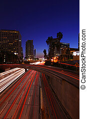 Timelapsed Traffic in Downtown Los Angeles at Night -...