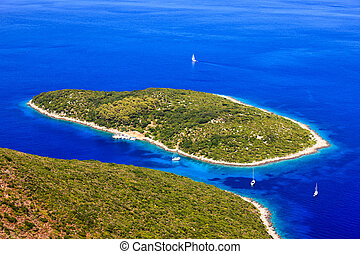 Ithaca island in Greece - panoramic view of Ithaca island in...