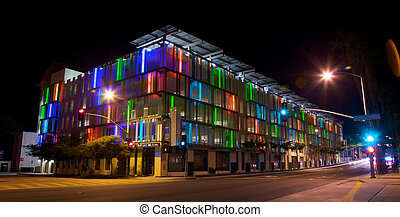Parking Structure in Los Angeles With Colorful Accent Lights...