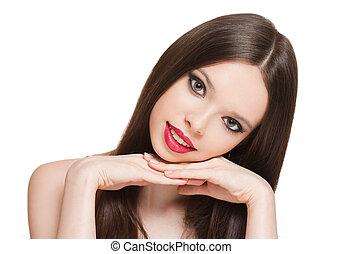 Brunette makeup beauty.