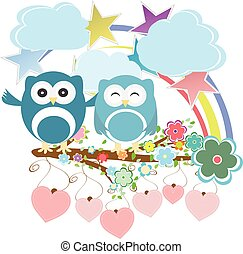 Vector set - owls, birds, flowers, sky, cloud