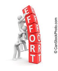 Team effort Business 3D metaphor