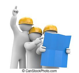 Builder Team - People at work metaphor Isolated on white