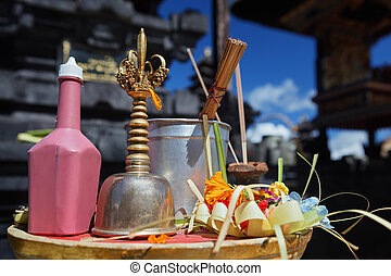 Balinese priest bell - genta, holy water, offering - canang...