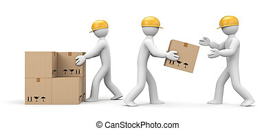 People unload cargo - People at work metaphor. Isolated on...