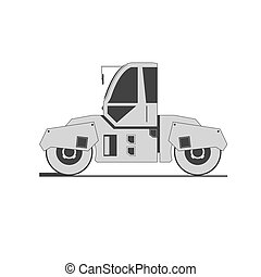 Road roller isolated on background Vector illustration