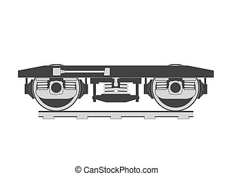 Wheelset of a railroad car silhouette. Vector illustration.