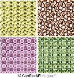 art set of damask patterns vector illustration