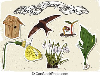 Vintage set of spring elements Vector illustration EPS10