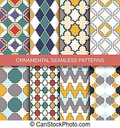 Collection of seamless ornamental patterns.