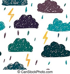 Simple children's doodle pattern. Doodle pattern with clouds.