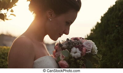 Beautiful bride on the wedding day. Close up.