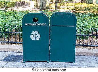 Green Rubbish Bin and Recycling Bin