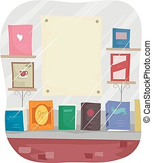 Bookstore Window Display Blank Poster - Illustration...