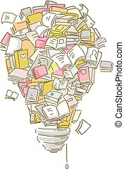 Books Shape Light Bulb - Illustration of a Collection of...