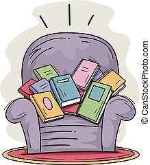 Books Sofa Chair Full - Illustration of a Sofa Chair Filled...