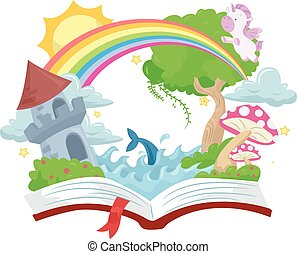 Book Open Story Book Fantasy Kingdom