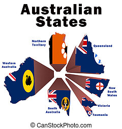 Australian States - Exploded drawing of the Australian...