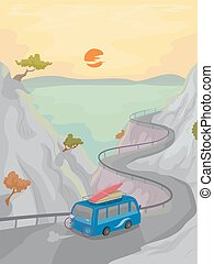 Camping Mountain Trip Coastal Road - Illustration of a...