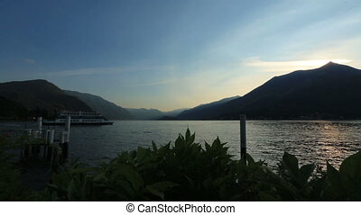 Wonderful landscape of lake Como in Italy Evening time,
