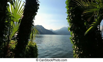 Paradise dawn on the Como lake in Italy. Heaven on Earth. -...