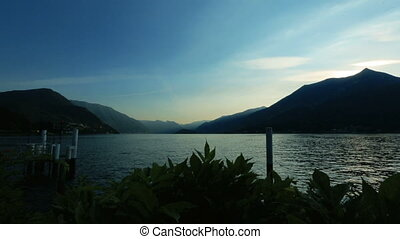 Amazing view of the lake Como, Italy in the evening time