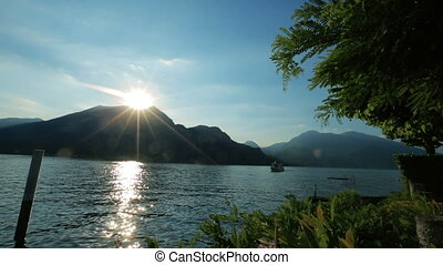 Wonderful dawn in the Como lake, Italy Honeymoon.