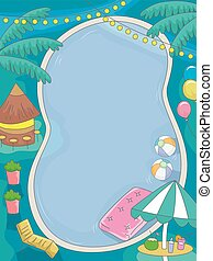 Birthday Tropical Pool Party - Illustration of a Birthday...