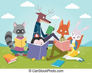 Clipart Vector of Cute animals cartoon reading book - Vector ...