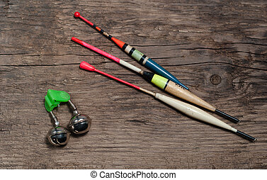 Fishing tackle and bait - Fishing tackle and bait, on wooden...