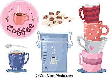 Coffee Making Elements - Illustration of Elements Related to...