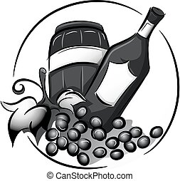 Black and White Wine Icon
