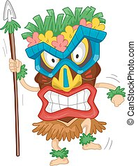 Native Tiki Mask Costume - Illustration of a Native Man...
