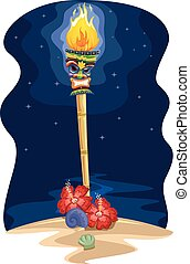 Tiki Torch Hawaiian Nighttime - Night Scene Illustration of...